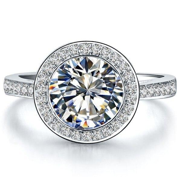3 carat round brilliant halo style sona synthetic diamonds wedding engagement ring genuine 925 sterling silver - Sterling Silver Diamond Wedding Rings