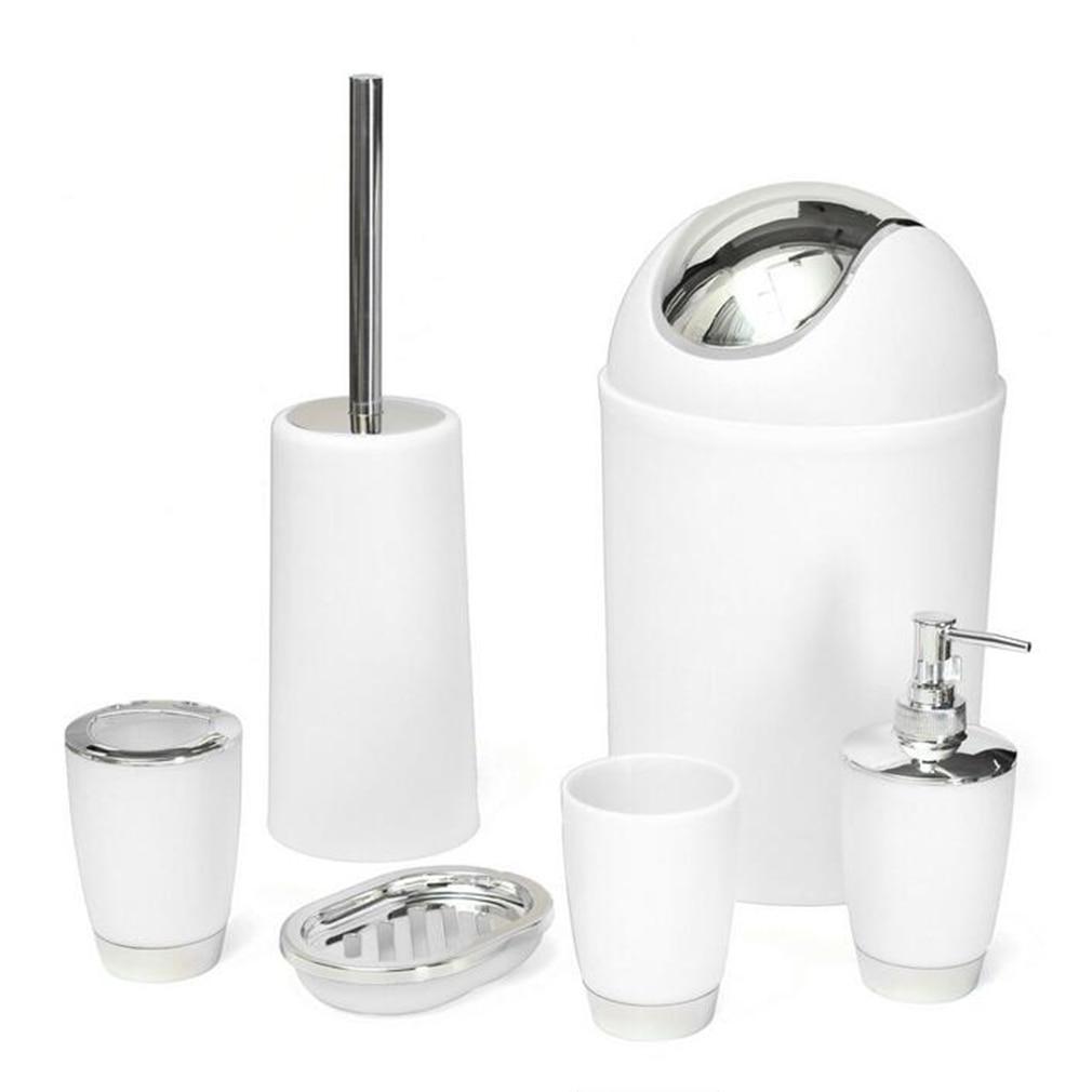 6Pcs/set Bathroom Accessory Bin Soap Dish Dispenser Tumbler Toothbrush Holder Set Wash Bath Set Storage Accessories Free Ship