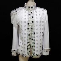 Quality Handmade Male Fashion Crystal Epaulets Rhinestone Suit Jacket Nightclub Singer Dj show Ds Costume performance wear