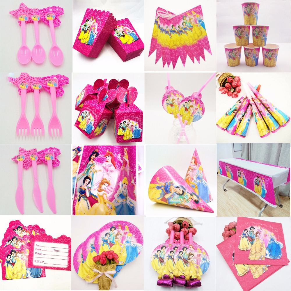 132pcs Princess Party Supplies Baby Shower kids Party Supplies Birthday Party Decoration Favor Party Supplies baby girl