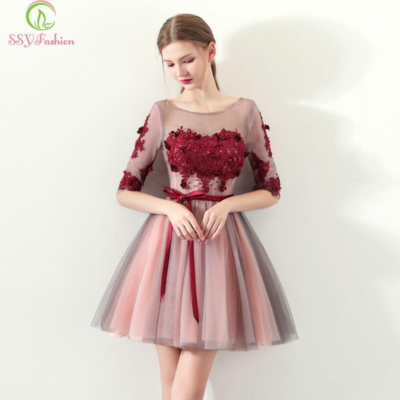 SSYFashion Short Cocktail Dresses Banquet Elegant Half Sleeves A-line Mini Lace Appliques Party Formal Gown Bride Dresses