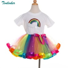 Rainbow Tutu Skirts Children Kids Girl Clothes 2 pcs Set Summer Girls Clothing Sets Rainbow Casual Cotton Short Sleeve T-shirt