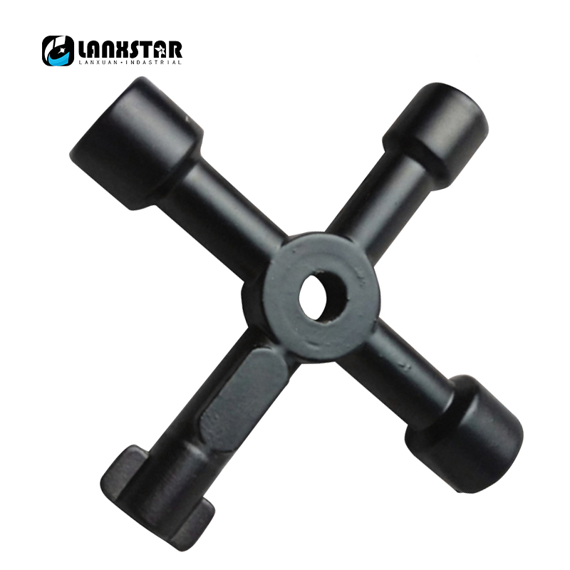 Multifunction for Cabinet Door Elevator Triangular Key Wrench Square Hole Keys Water Meter Valve Train 4 in 1 Handle-wrench