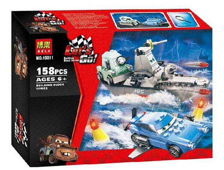 ФОТО 158pcs bela 10011 pixar cars 2 escape at sea assembling building blocks model bricks minifigures sets toys  toy