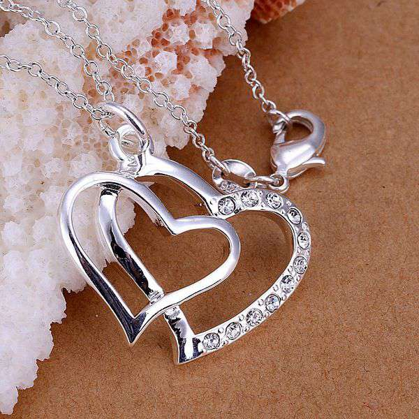 silver plated Jewelry Pendant Fine Fashion Cute Insets Double Heart Necklace Pendants Top Quality CP091