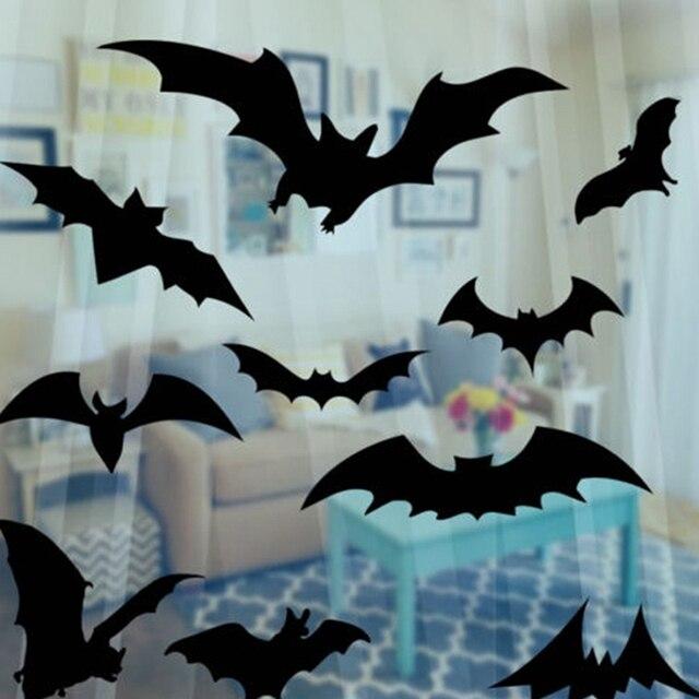 1 Pcs Black Pvc Bat Diy Decor Wall Sticker For Party Bar Haunted