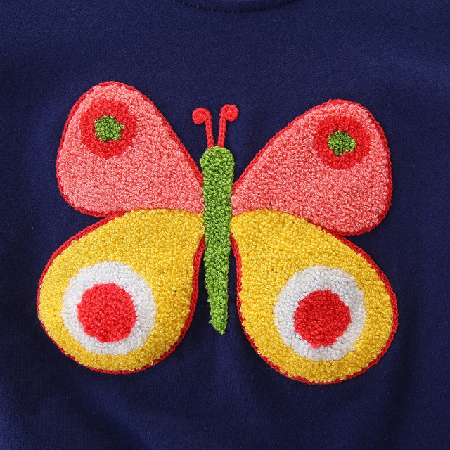 SAILEROAD 2-7Year Animal Butterfly Embroidery Pullover Girl Autumn Baby Girls Sweater for Fall Children Kids Outerwear Clothes
