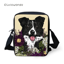 ELVISWORDS Fashion Womens Messenger Bags Flower Dogs Pattern Woman Cross Body Bag Cartoon Bulldogs Print Girls Mini Flaps Purse