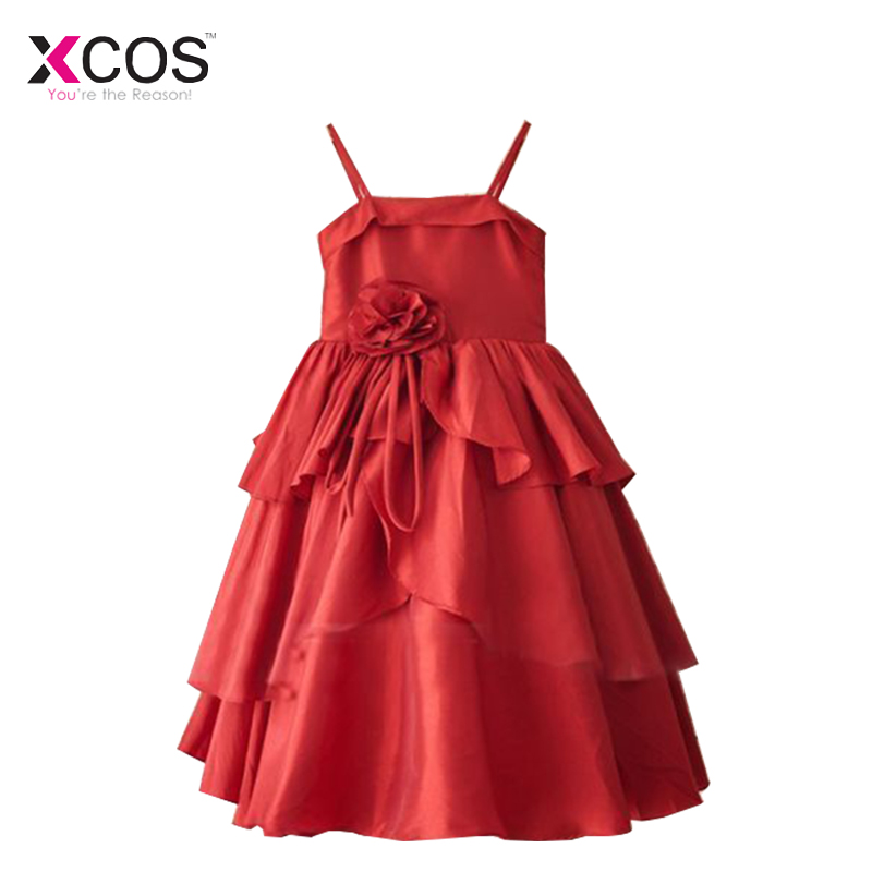 Real Photos 2018 Red   Flower     Girl     Dresses   For Weddings Spaghetti Straps   Flowers   Tiered   Girls   Pageant Communion   Dresses