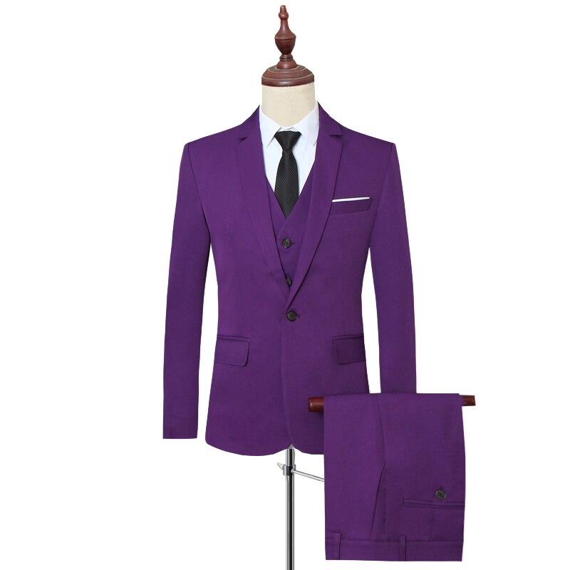 Klassische Formale Kleid Männer Anzug Jacken + Weste + Hosen Mode Freizeit Herren 3 Stück Anzug Größe S 6XL Hochzeit Anzüge für Mann Schwarz - 3