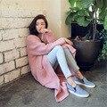 Nuevo 2017 Otoño Moda Estilo Coreano Sólido Bolsillo V-cuello de la Manga Completa Solo Pecho Suéter Largo Cardigans Casual Envío de La Gota