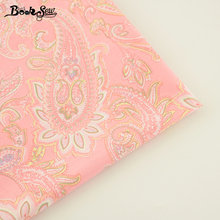Booksew Pink Cotton Twill Fabric Flower Pattern Quilting Cloth For Bedding Baby Patchwork Scrapbooking Curtain Home Textile(China)