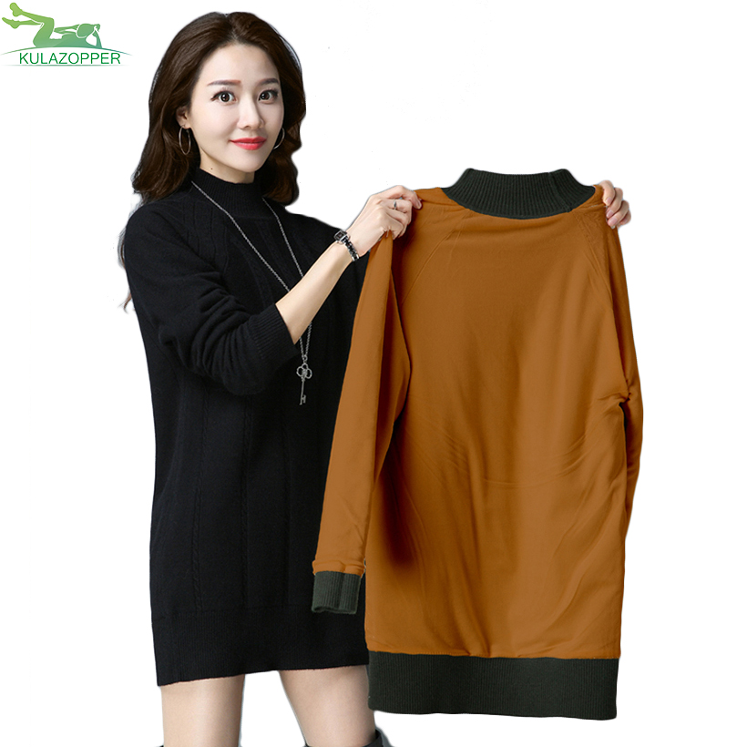 Nouvelle Mini Pull Robe Femmes S Solide Black Color Hiver Montant red Taille Er103 picture Green khaki Féminine Col Puls deep 6xl Thicking Tricoter À 2018 wn0m8N