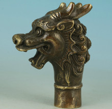 Copper Brass CHINESE crafts decoration Asian Chinese Old Bronze Hand Carved Dragon Statue Walking Stick Head
