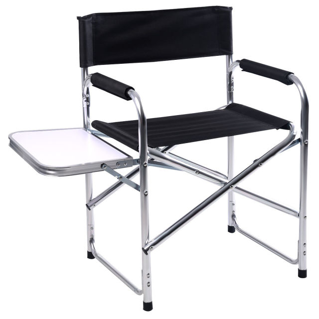 Giantex Aluminum Folding Director S Chair With Side Table Portable Camping Traveling Outdoor Furniture Hw51196