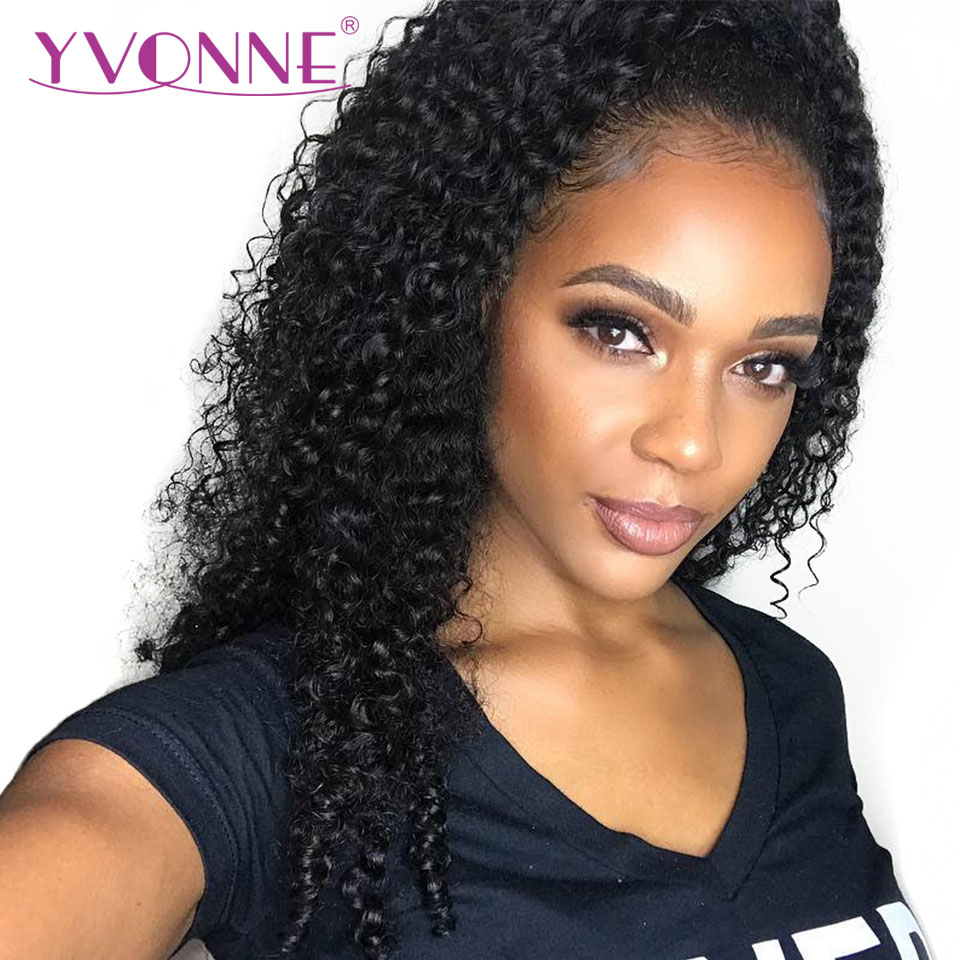 YVONNE Malaysian Curly Virgin Human Hair Lace Front Wigs For Black Women Natural Color Free Shipping