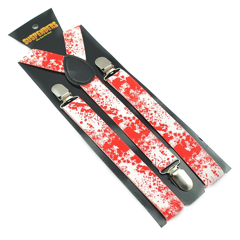 New Arrival Halloween Vampire Blood Clip On Suspenders Elastic Braces For Men Women 2.5cm Suspender Free Shipping