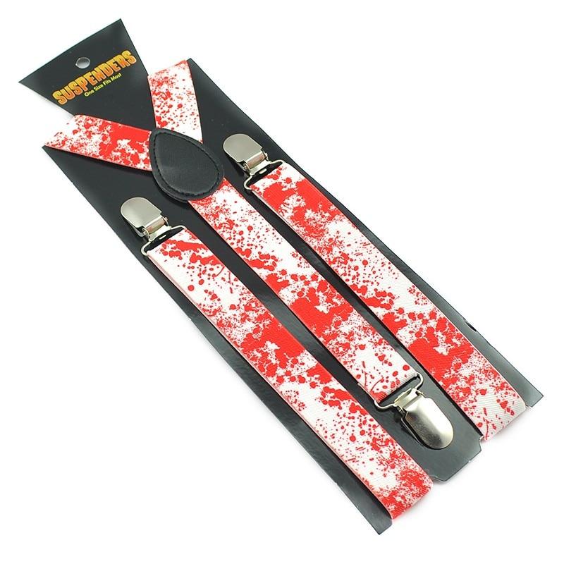 New Arrival Halloween Vampire Blood Clip On Suspenders Elastic Braces For Men Women 2.5cm Suspender Free Shipping