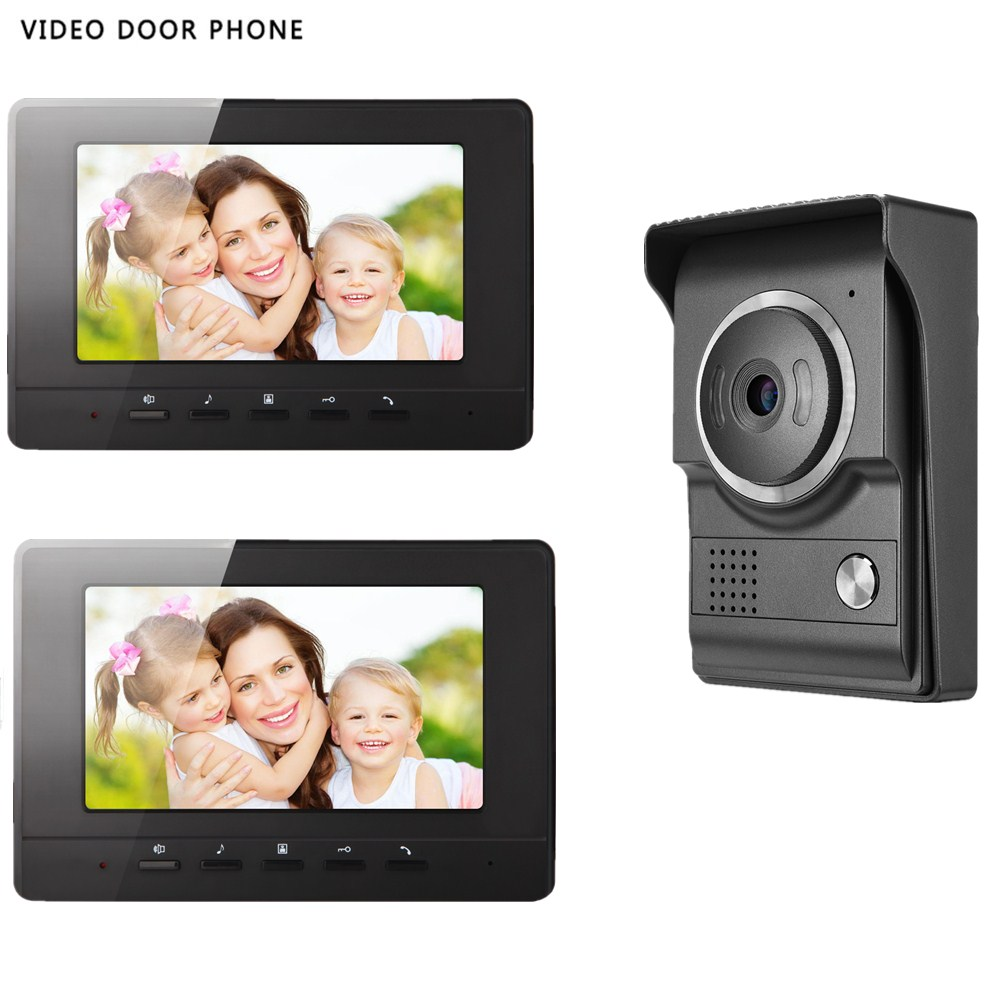 Home Security video door phone intercom systerm 7tft lcd screen two monitor wire video doorphone for villa night vision camera