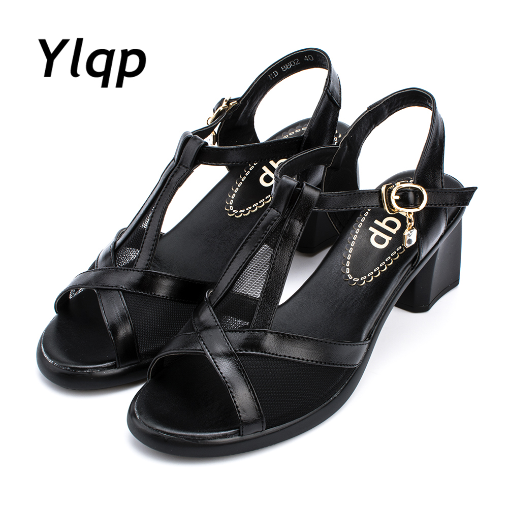 2017 New Style Fish Mouth, Genuine Leather Summer Sandals, Comfortable Soles, Mother Sandals, Women Leather Shoes Sandals the new type of diamond mother sandals lady leather fish mouth flowers with leather high heeled shoes slippers women shoes