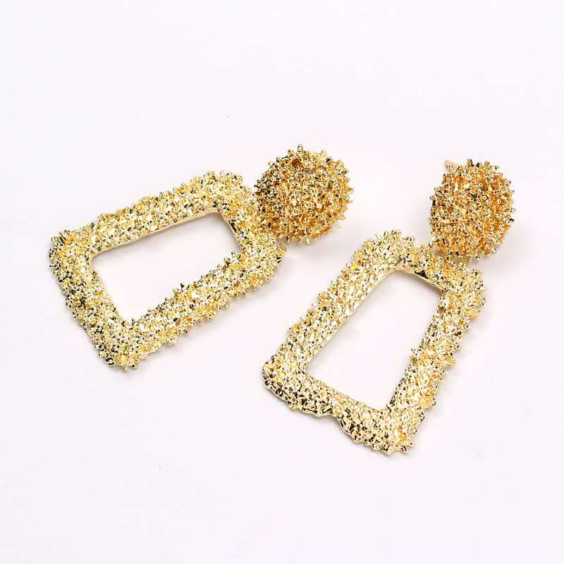 2019 Gold Earrings For Women Drop Design Vintage Geometric Earrings Fashion Hanging Jewelry For Party Simple Styles Metal Earbob in Drop Earrings from Jewelry Accessories