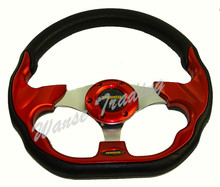 Universal 320mm PU Leather Racing Sports Auto Car Steering Wheel with Horn Button 12.5 inches Red