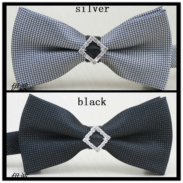 (1 pieces/lot) High quality novelty bow tie/silver and black/rhombus diamond in the middle design/new mens fashion bowknot