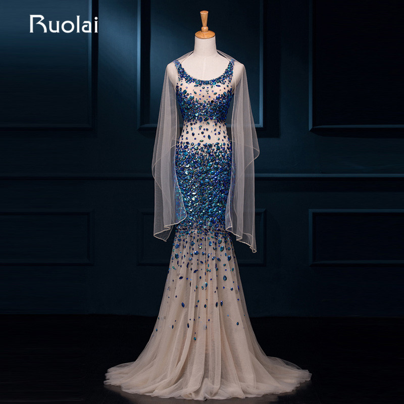 Real Photo Sexy Long Prom   Evening     Dresses   Scoop Mermaid Tulle Beaded Bodice Open Back Sweep Train   Evening   Party Gowns ASAFN8