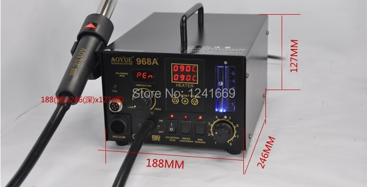 special 220V Aoyue 968A+ digital SMD solder station hot air gun 3 in 1 Aoyue968A+ Multi-function Repairing System цена