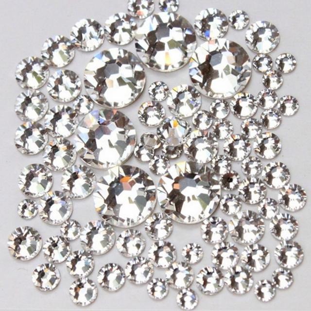 Super deal Shiny 1440PCS SS3 to ss10 non hotfix rhinestone Clear Crystal color 3D Nail Art Decorations Flatback Rhinestones