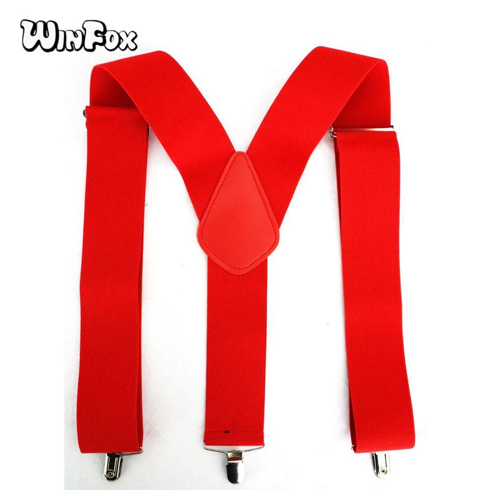 Winfox Vintage Black Red 5cm Wide Elastic Adult Suspender Solid Pants Braces Male Suspenders Men 3 Clip-on