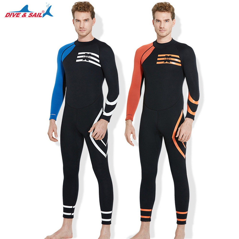 DIVE&SAIL 3mm Neoprene Scuba Diving Suit Men Full Body Snorkeling Surfing Wetsuit Spearfishing Suit Winter Warm Swimwear 3mm neoprene men&women scuba diving wetsuit snorkeling surfing swimming suit keep warm spearfishing full body surf wet suit