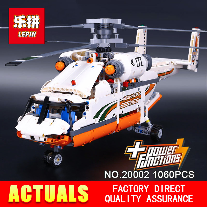 NEW LEPIN 20002 technic series 1060pcs Double rotor transport helicopter Model Building blocks Bricks Compatible 42052 Boy toys new lepin 20002 technology series mechanical group high load helicopter blocks compatible with 42052 boy assembling toys