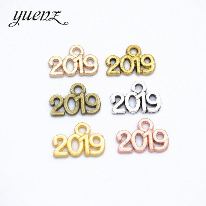 YuenZ 50pcs 6 Color Alloy Number 2019 Charms Bracelet Necklace Pendant Kids Graduation DIY Souvenir Jewelry Findings 14*9mm S107