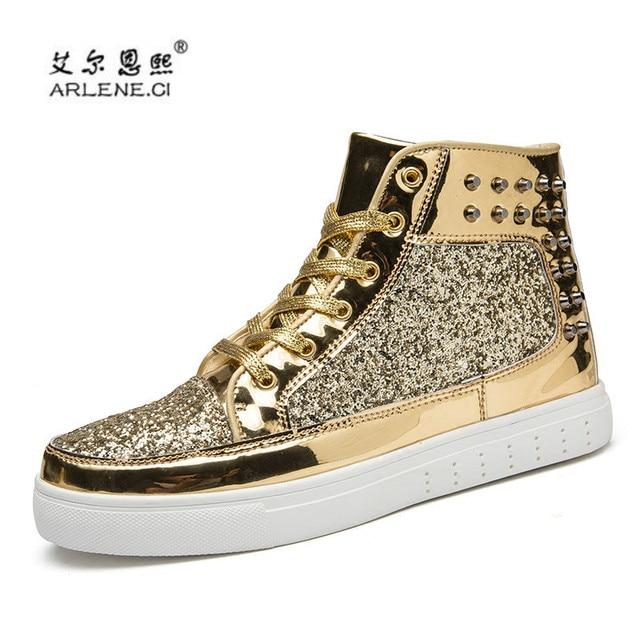 Men s Skateboarding Shoes 2018 Glitter Rivets Sneakers Outdoor Sports Shoes  Shiny Men High Top Classic Metal Head Skate Shoes 5408c7320d7c