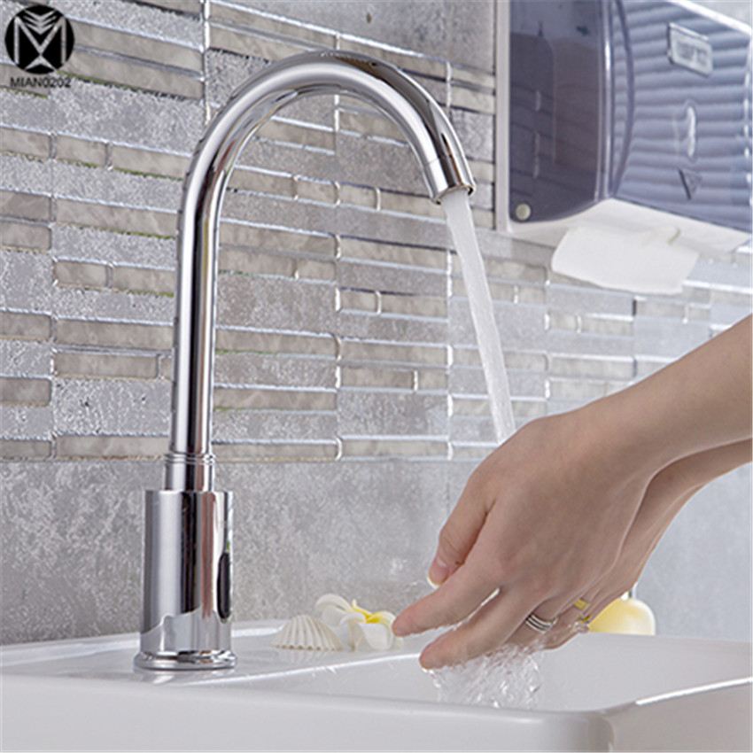 Bathroom Faucet High Quality Contemporary Sensor Faucet Automatic Hands Touch Free Sensor Faucet Bathroom Sink Tap Mixer Faucet relax mode w14082737410