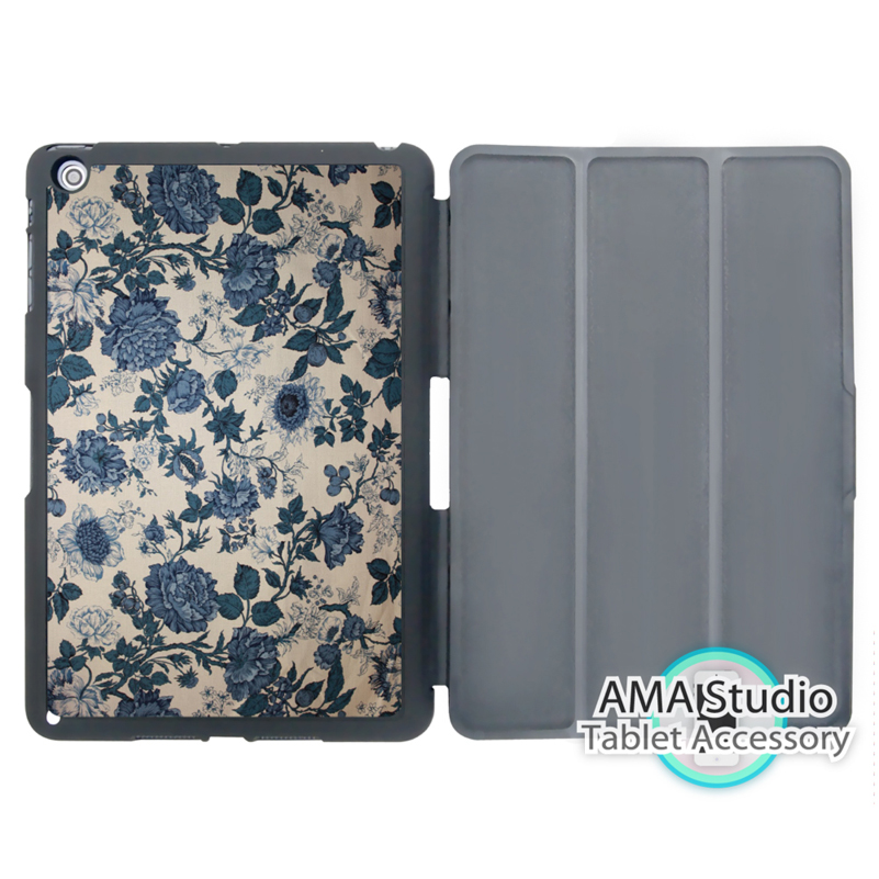 Vintage Blue Flower Stand Cover Case For Apple iPad Mini 1 2 3 4 Air Pro 9.7 Wake UP Sleep 10.5 12.9 2016 2017 a1822 New