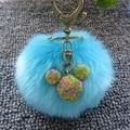 Cartoon Micky Pendent Keychain - 8cm Simulation Rabbit Fur Ball Pompom Keychain Copper Plated Key Ring For Women Bag Handbag