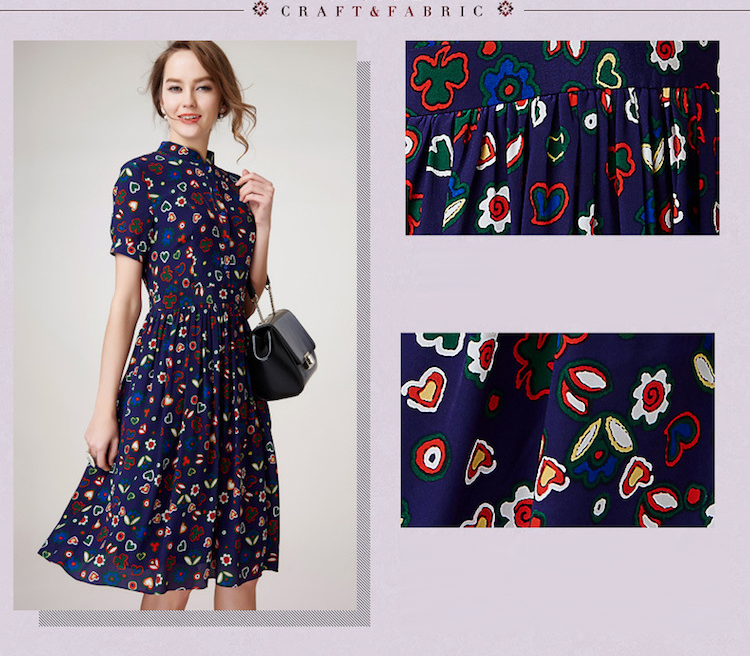 Soie D'été En Floral 100 Pur Crêpe Robe Vintage Nouvelle De Bureau Femmes Imprimé xTtd4Bvq