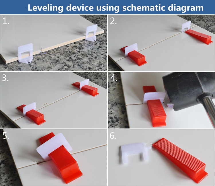 400pcs Tile Leveling System 300 Clips With 100 Wedges Plastic Spacers Tiling Tool Plastic1.5mm Gap Prevent displacement (7)