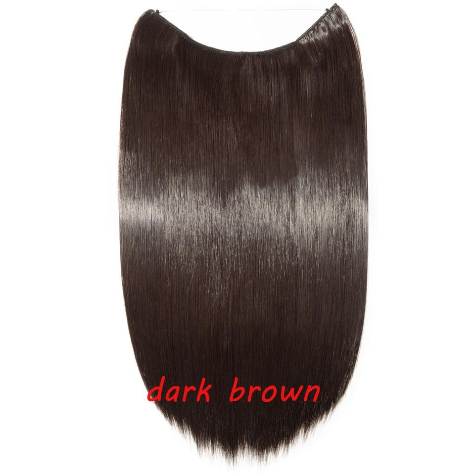 S-noilite 20 дюймов невидимый провод без заколки для волос Расширения секретная Рыбная линия шиньоны шелковистые прямые настоящие натуральные синтетические - Цвет: 4A