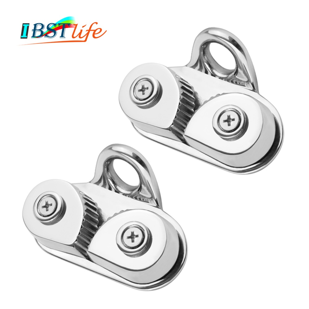 2PCS Marine Grade 316 Cam Cleat with Leading Ring Boat Cam Cleats Matic Fairlead Marine Sailing