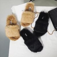 Kmeioo Slides Fur Slippers Women Real Fox Fur Slides Home Furry Flat Sandals Female Cute Fluffy House Shoes Woman Brand Luxury