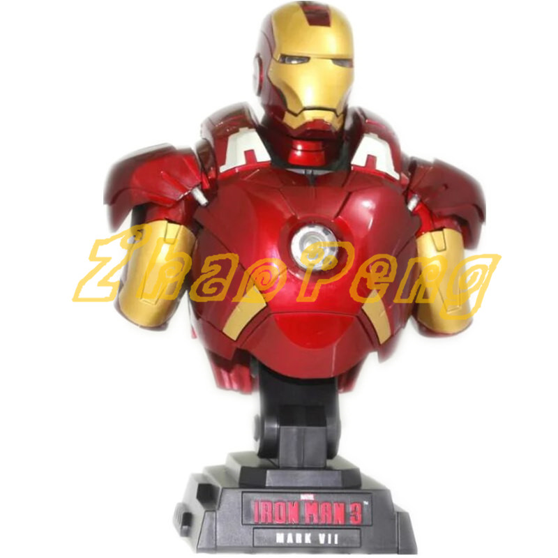 1/4 scale Iron man bust glow statue Collection Decoration model PVC action figure High quality toy Iron man kit gift for kid