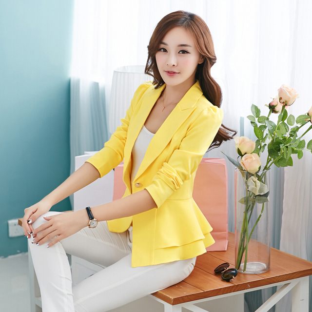 2017 New Fashion Jacket Women Suit Foldable Long Sleeves Lapel Coat Candy Color Blazer Single Button Vogue Blazers Jackets A121