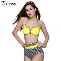 Women 2016 New Sexy High Waist Striped Bandage Halter Top Strappy Bikinis Set Padded Swimsuit Two