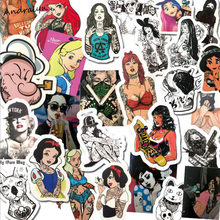 47PCS/Lots Personality Tattooed Sexy Beauty Cartoon Graffiti Waterproof Stickers Box Suitcase Guitar Car Motorcycle Stickers(China)