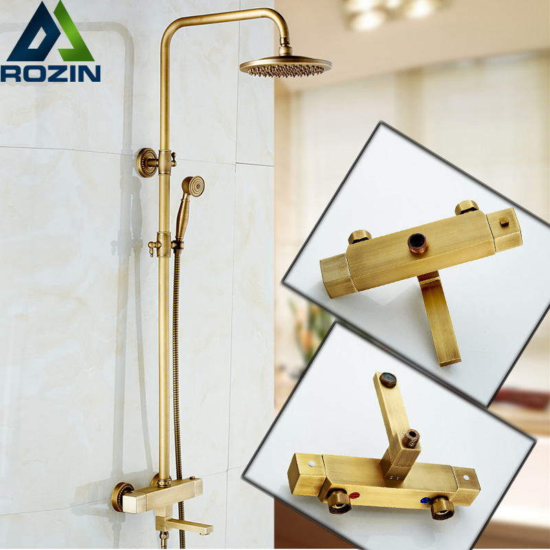 Bathroom Rainfall Antique Brass Thermostatic Shower Set Mixer Tap Dual Handle Shower Faucet High Quality bathroom faucet shower water mixer tap copper dual handle thermostatic faucet black brass thermostatic faucet mixing valve