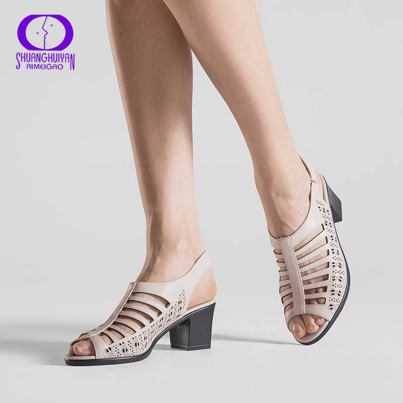 f65815b5b1cb AIMEIGAO женские сандалии-гладиаторы высокого качества с открытым носком,  обувь на высоком каблуке