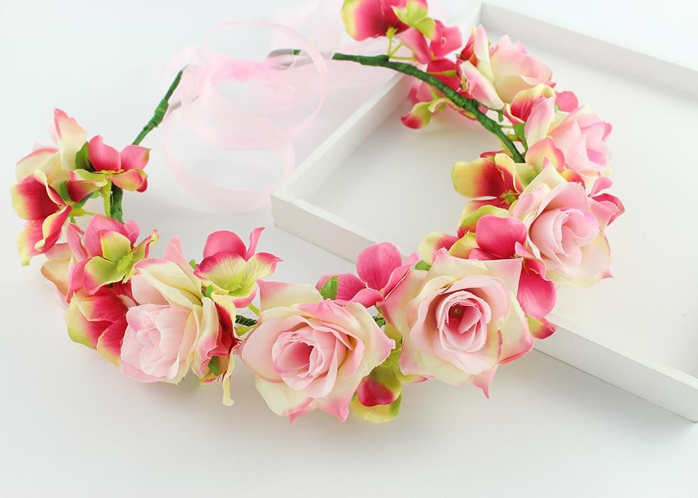 Sweet Wedding Rose Wreath Flowers Princess Headband Hair Accessories Flower  crown colourful floral headpiece headband wreath-in Women s Hair  Accessories ... 00d6ce6a1e3